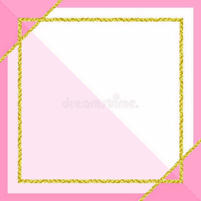 Bandeira do molde com quadro dourado do brilho no fundo pastel cor-de-rosa macio, rosa do quadro do ouro do brilho para anunciar  ilustração stock
