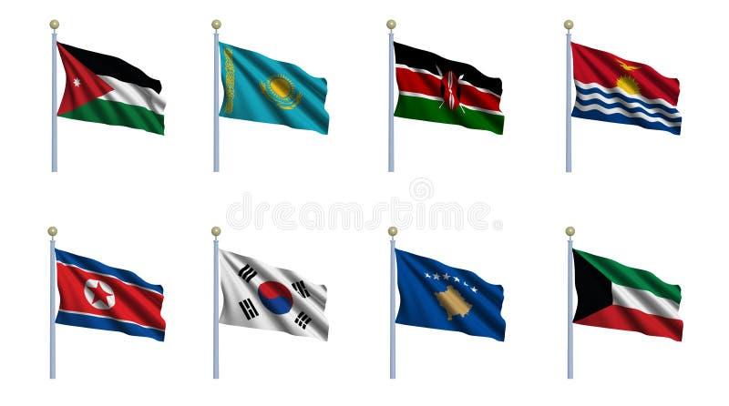A bandeira do mundo ajustou 12 ilustração stock
