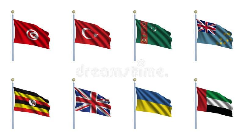 A bandeira do mundo ajustou 24 ilustração royalty free