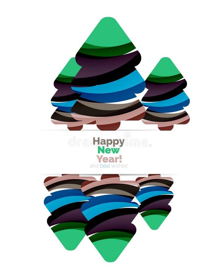 A bandeira do Natal abstrato e do ano novo feliz projeta com espaço vazio com quinquilharias ilustração stock
