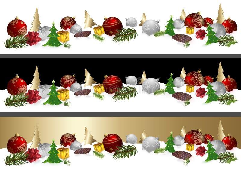 Bandeira do Natal com três variações do fundo ilustração royalty free