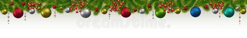 Bandeira do Natal e do ano novo com abeto, festões e berri ilustração royalty free