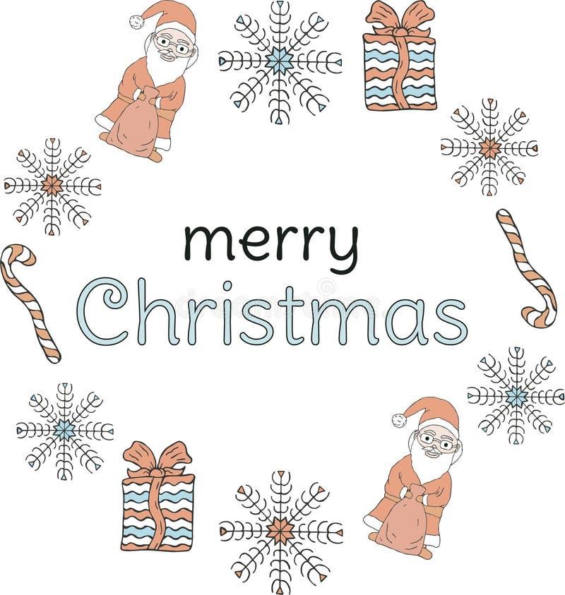 Bandeira do Natal Santa Clauses, flocos de neve, presentes, bastões de doces em torno da inscrição em um fundo branco ilustração royalty free