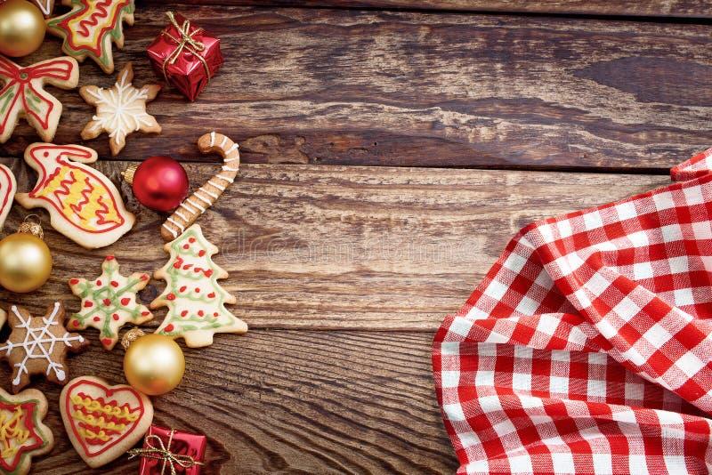 Bandeira do Natal Toalha de mesa da manta e cookies do Xmas Copie o espaço, zombaria acima fotografia de stock