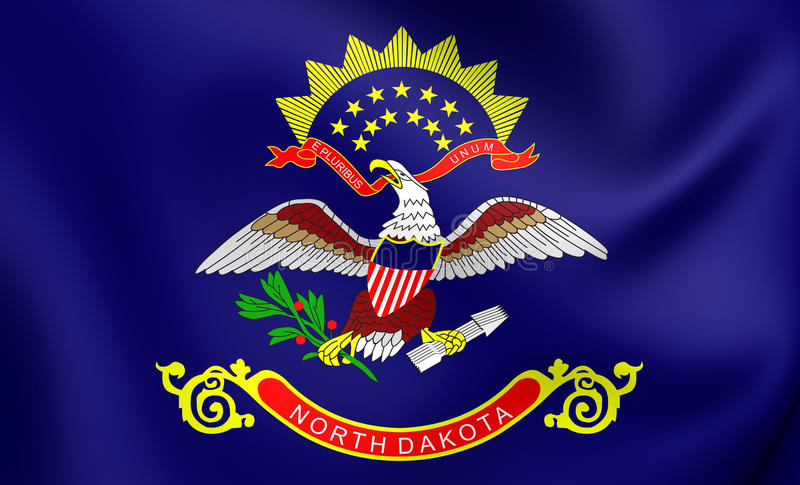Bandeira do North Dakota, EUA ilustração stock