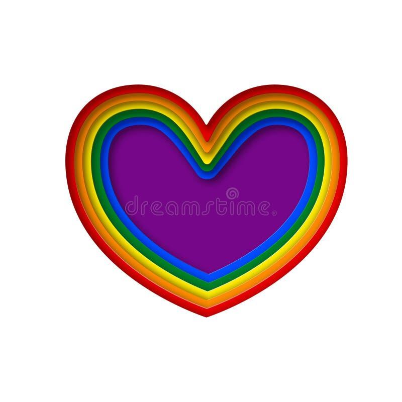 Bandeira do orgulho do arco-íris de LGBT em uma forma do coração Lésbica, homossexual, bisexual, e elemento do projeto do transge ilustração do vetor