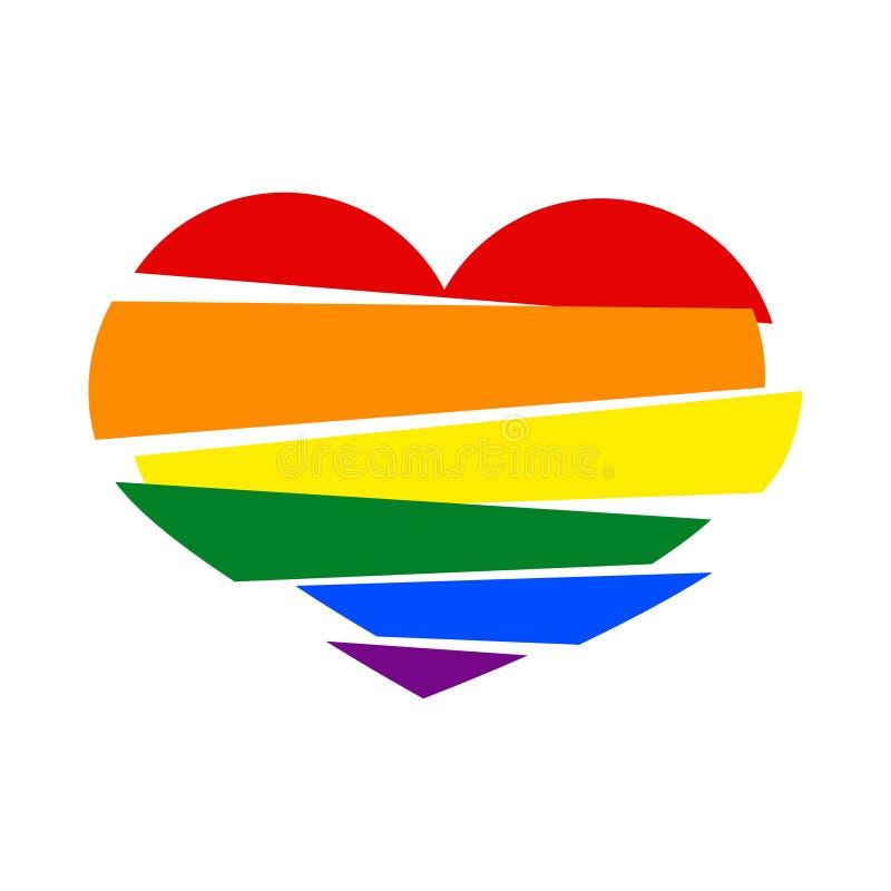 Bandeira do orgulho do arco-íris de LGBT em uma forma de coração quebrado das listras no wh ilustração royalty free