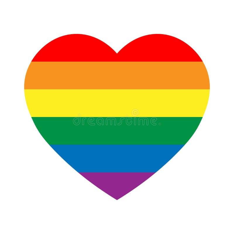 Bandeira do orgulho do arco-íris de LGBT em uma forma do coração Lésbica, homossexual, bisexual, e elemento à moda do projeto do  ilustração do vetor
