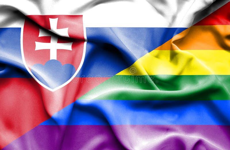 Bandeira do orgulho e eslovaco de ondulação ilustração royalty free