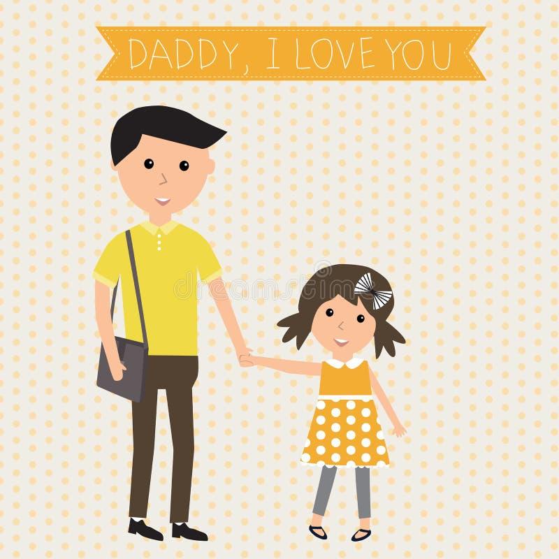 Bandeira do paizinho da filha do dia do pai e da criança eu te amo Ilustração ilustração stock