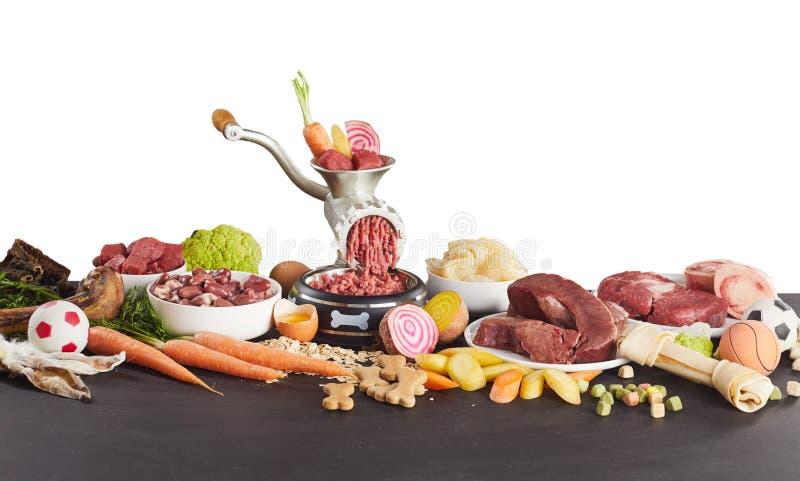 Bandeira do panorama de ingredientes saudáveis para o barf imagem de stock