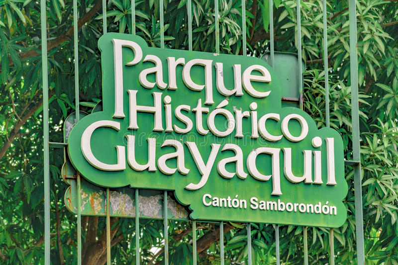 Bandeira do parque histórico, Guayaquil, Equador fotos de stock