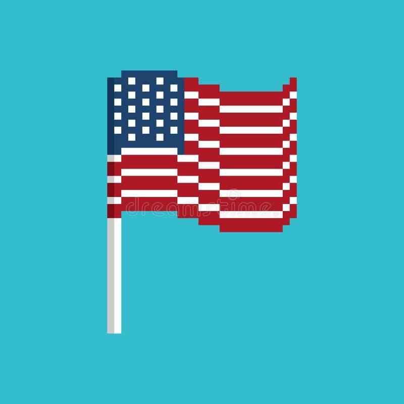 Bandeira do pixel dos EUA Bandeira América de Pixelated ícone político do bocado VE ilustração do vetor