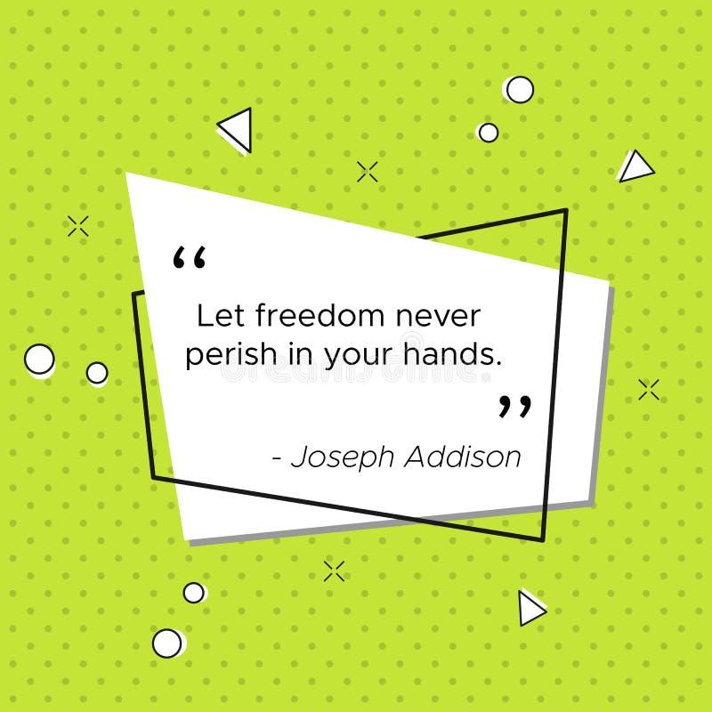 Bandeira do pop art com citações da liberdade de Joseph Addison ilustração do vetor