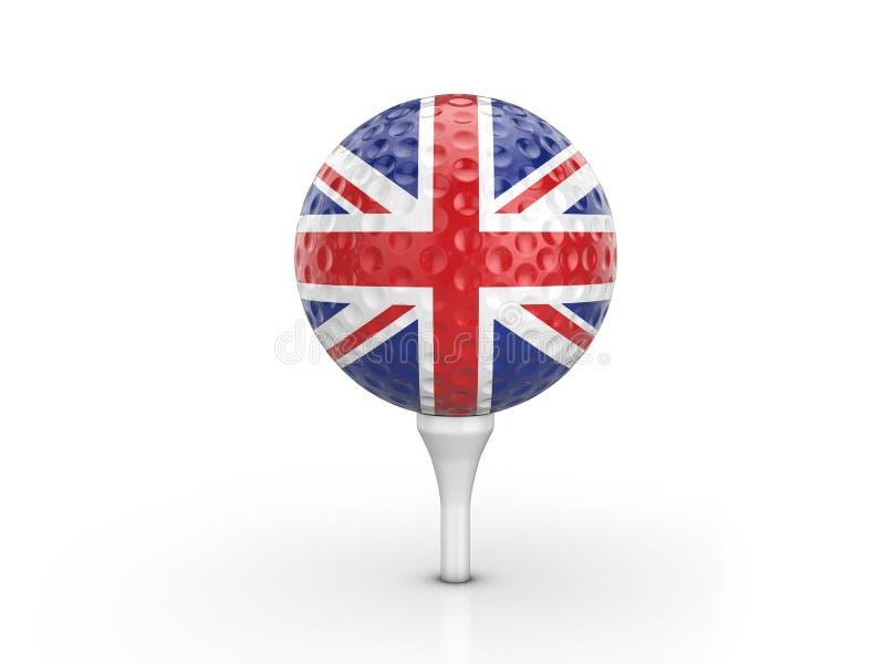 Bandeira do Reino Unido da bola de golfe ilustração stock