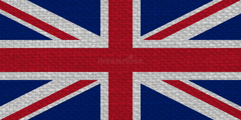 bandeira do Reino Unido (Reino Unido) aka Union Jack com textura da tela imagem de stock