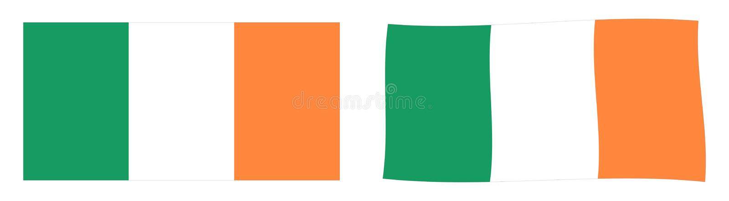 Bandeira do ROI da República da Irlanda Versi simples e levemente acenando ilustração stock