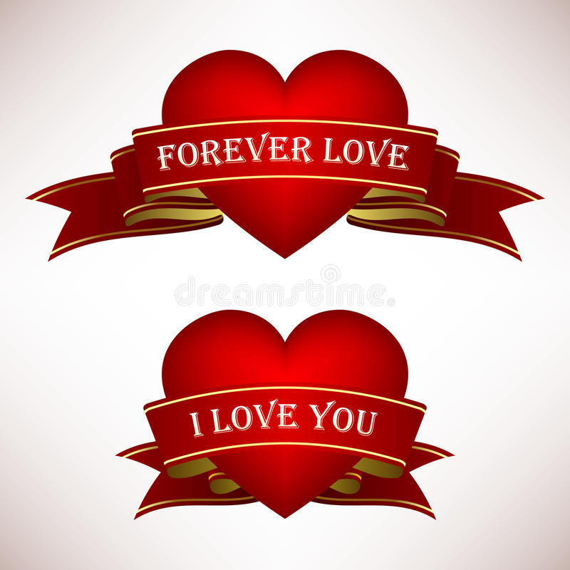 Bandeira do rolo da fita do coração do amor do Valentim
