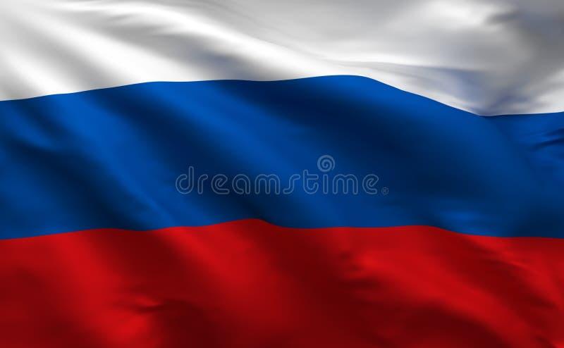Bandeira do russo, fundo material de seda de Rússia, rendição 3D ilustração royalty free