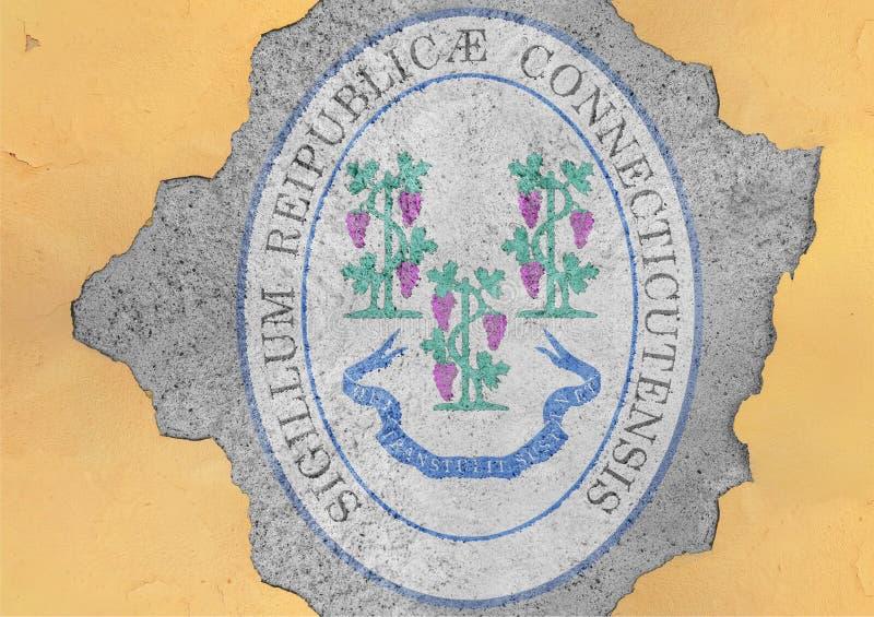 Bandeira do selo de Connecticut do estado de E.U. no furo rachado concreto grande imagens de stock royalty free