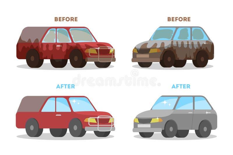 Bandeira do serviço da lavagem de carros antes e depois da lavagem ilustração royalty free