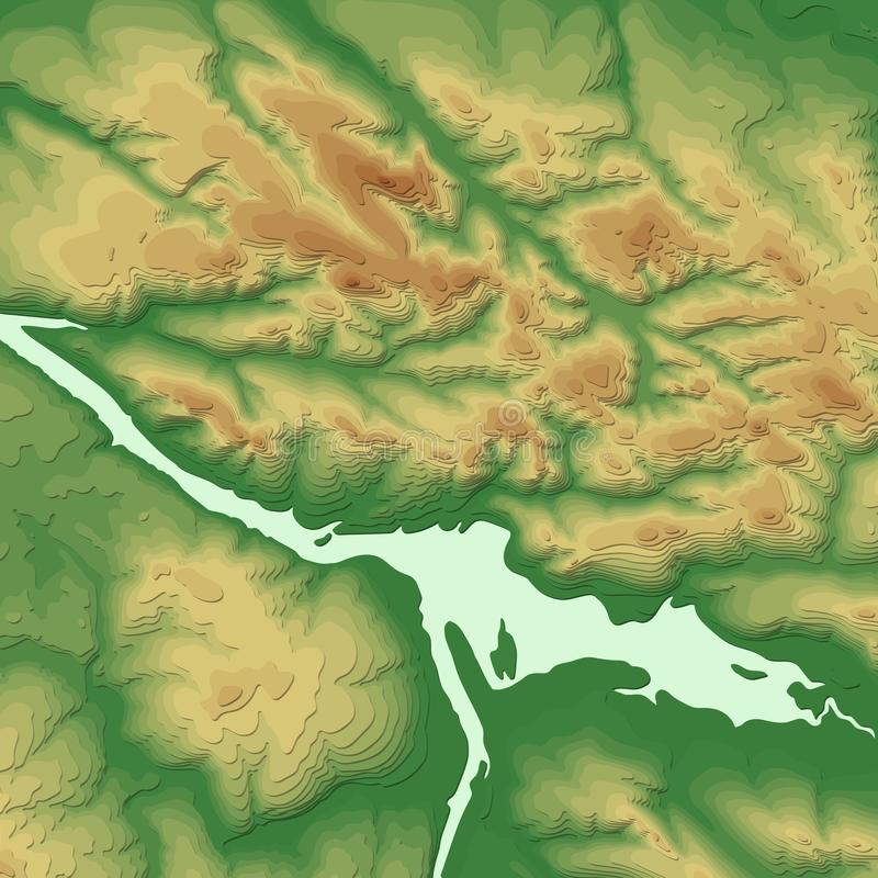 Bandeira do sistema de informação geográfica com fundo 3d topográfico Conceito do mapa topográfico do sumário do vetor ilustração stock