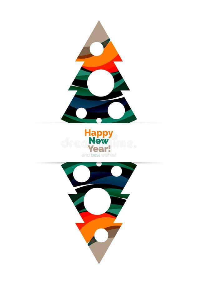 A bandeira do sumário do Natal colorido e do ano novo feliz projeta com bolhas ilustração stock