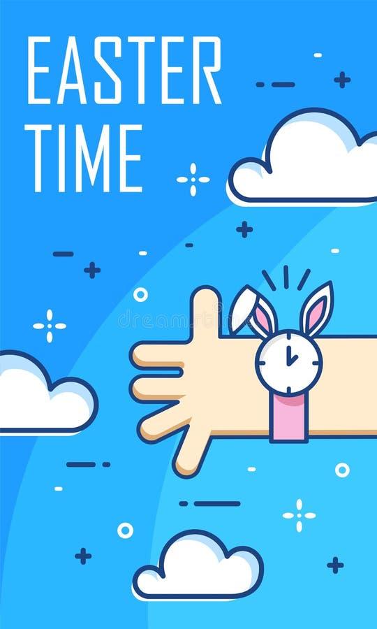 Bandeira do tempo da Páscoa com nuvens, mão e relógio de pulso Linha fina projeto liso Cartão do vetor ilustração do vetor