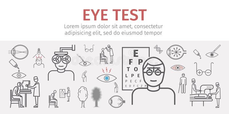 Bandeira do teste da visão do olho Linha ícones ajustados Infographics Sinais do vetor ilustração royalty free