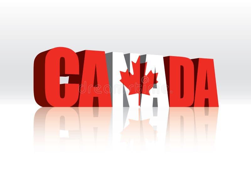 bandeira do texto da palavra do vetor de 3D Canadá ilustração royalty free