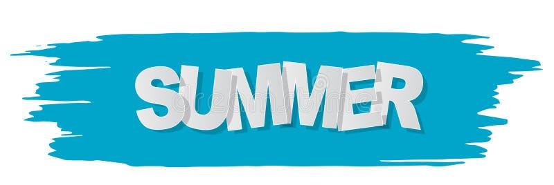 Bandeira do texto do verão no fundo rasgado azul Ilustra??o do vetor ilustração royalty free
