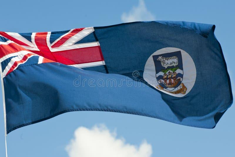 Bandeira do th Ilhas Falkland com réguas imagens de stock royalty free