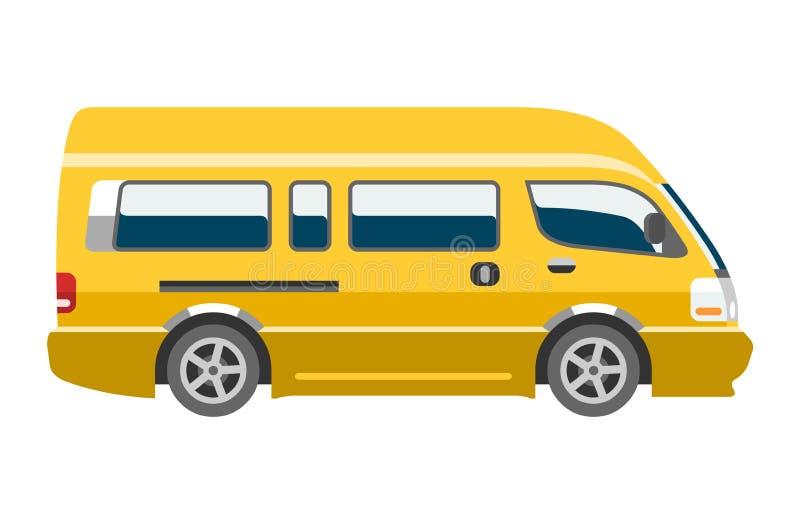 Bandeira do veículo e do automóvel do minibus da família do veículo da camionete do vetor do carro da carrinha a auto isolou city ilustração royalty free