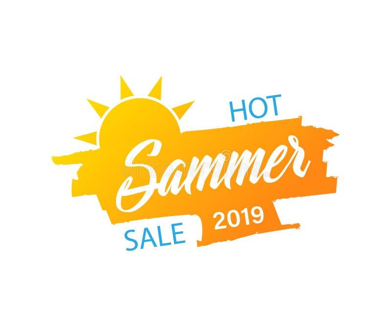 Bandeira do verão Ícone de Sun Estilo da venda do verão Vetor ilustração do vetor