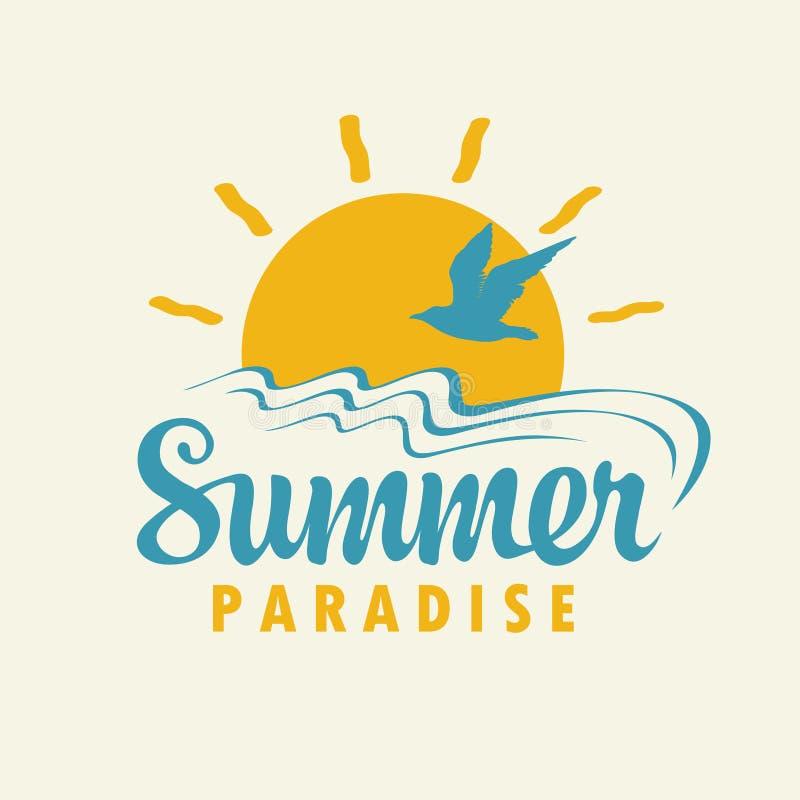 Bandeira do verão do curso com inscrição, sol, gaivota ilustração stock