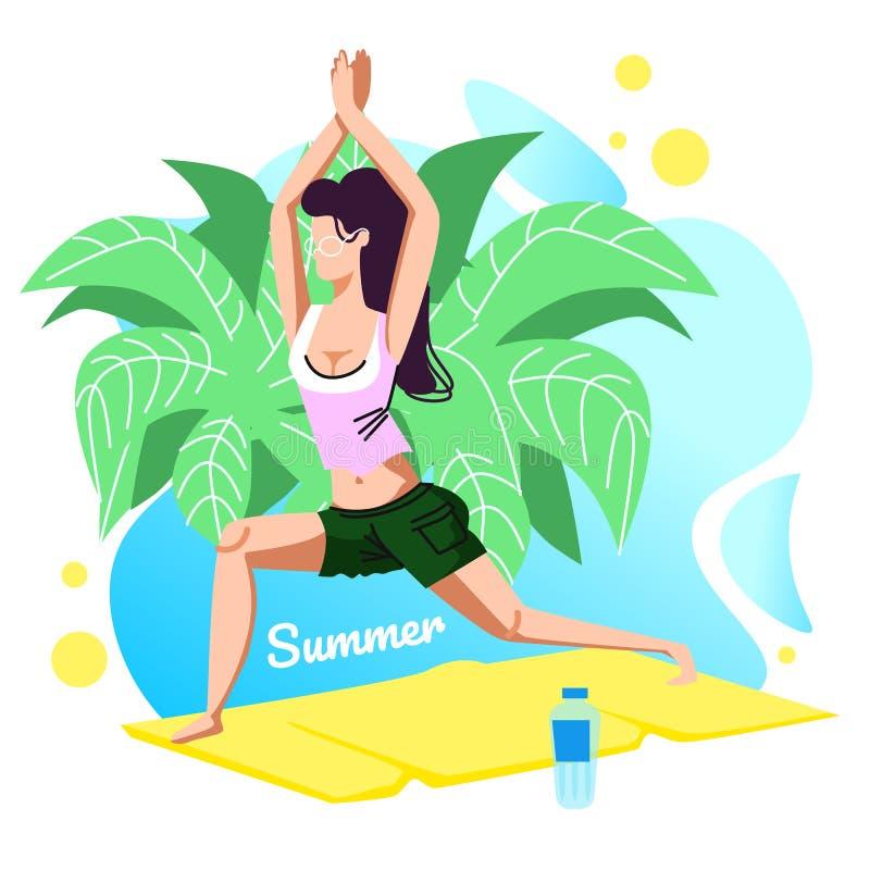 Bandeira do verão, moça que faz a ioga Asana do guerreiro ilustração royalty free