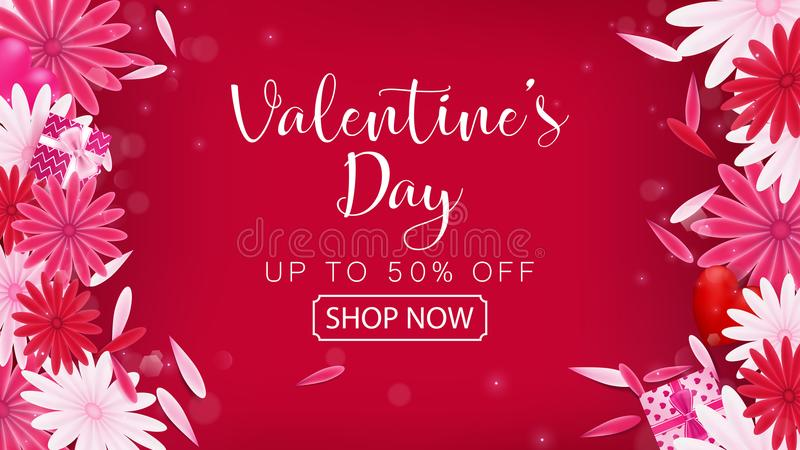 Bandeira do vermelho da venda do dia do ` s do Valentim ilustração royalty free