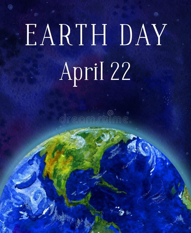 Bandeira do vertical do Dia da Terra Planeta da terra no espaço Ilustração tirada mão da aguarela ilustração do vetor