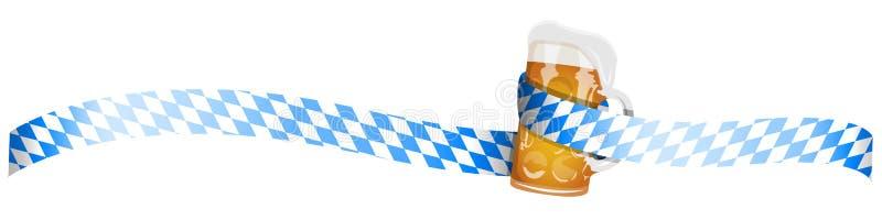 Bandeira do vetor do bavaria de Oktoberfest com vidro de cerveja ilustração do vetor