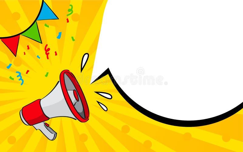Bandeira do vetor com bolha do megafone e do discurso Conceito do anúncio fotografia de stock royalty free
