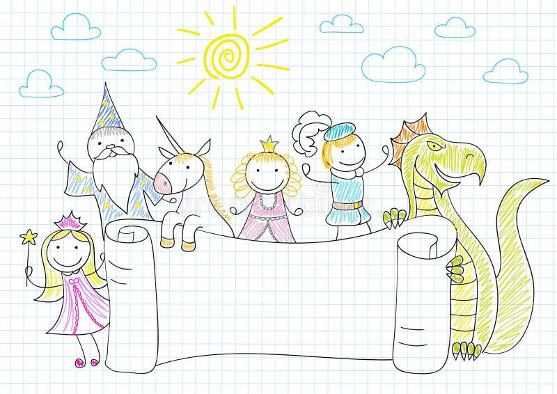 Bandeira do vetor com caráteres dos contos de fadas ilustração stock
