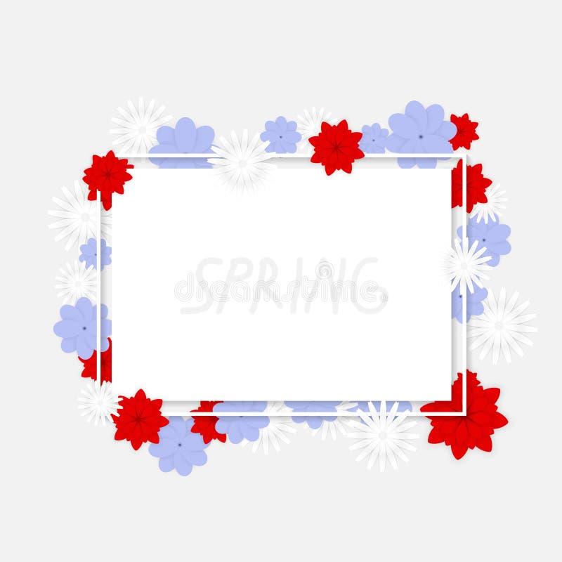 Bandeira do vetor com flores coloridas ilustração royalty free