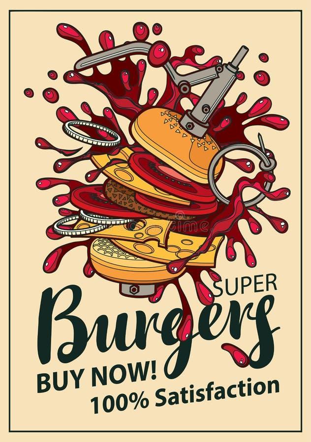 Bandeira do vetor com o cheeseburger no estilo retro ilustração do vetor