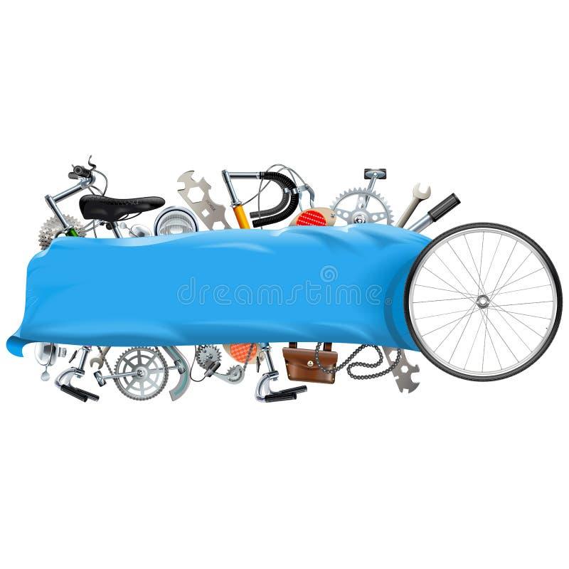 Bandeira do vetor com sobressalentes da bicicleta ilustração royalty free