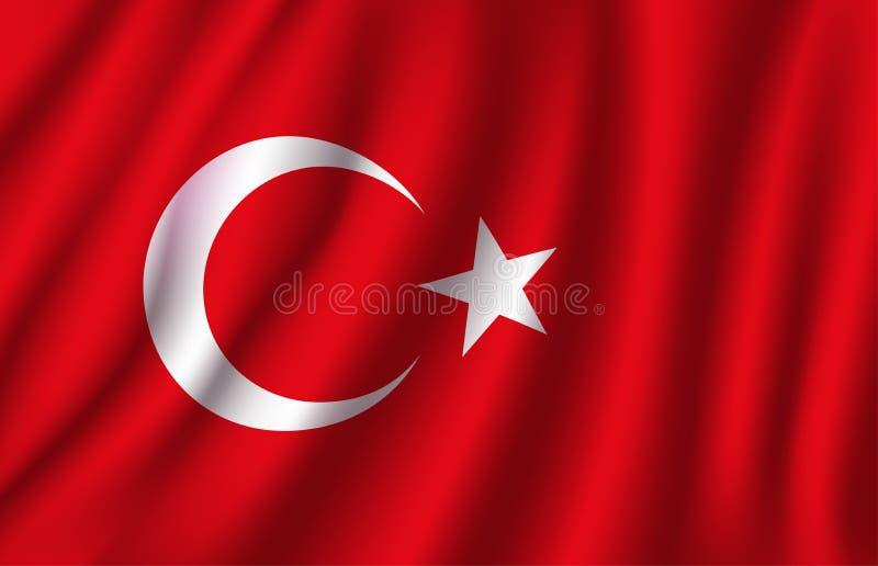 Bandeira do vetor 3D de Turquia Símbolo nacional turco ilustração do vetor