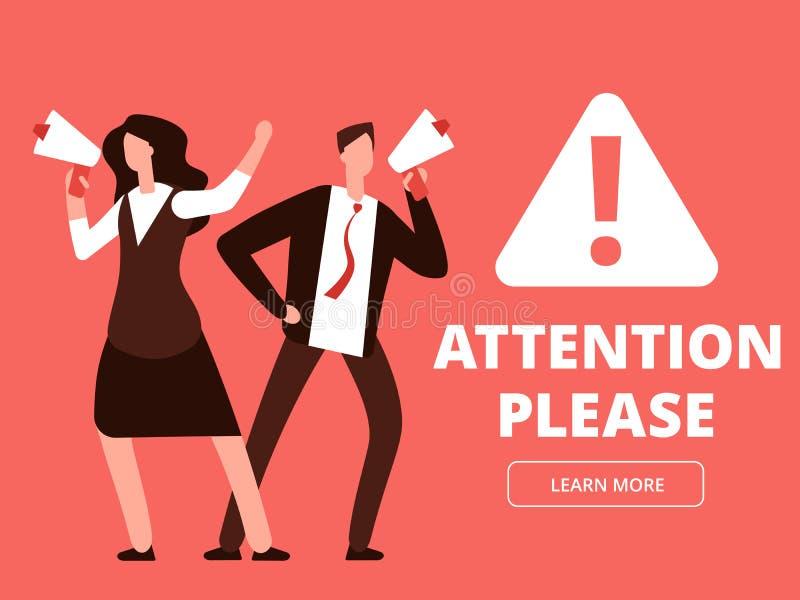 Bandeira do vetor da atenção ou molde do página da web com homem e mulher dos desenhos animados com megafone ilustração royalty free