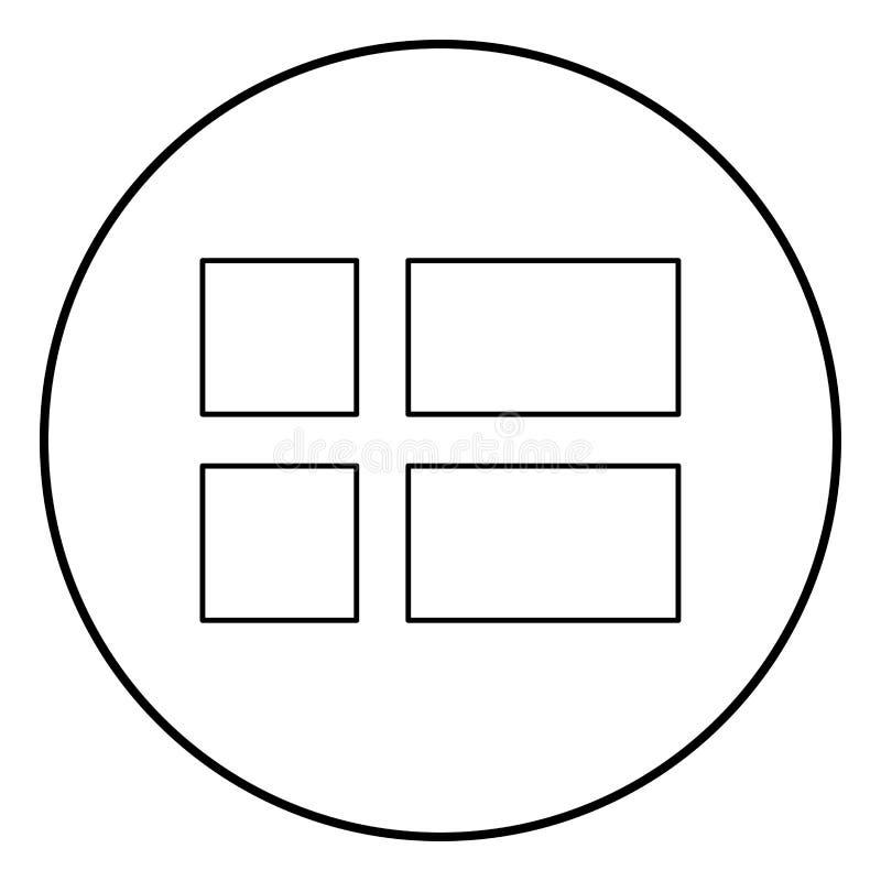 Bandeira do vetor da cor do preto do esboço do ícone de Dinamarca na imagem lisa do estilo da ilustração redonda do círculo ilustração stock