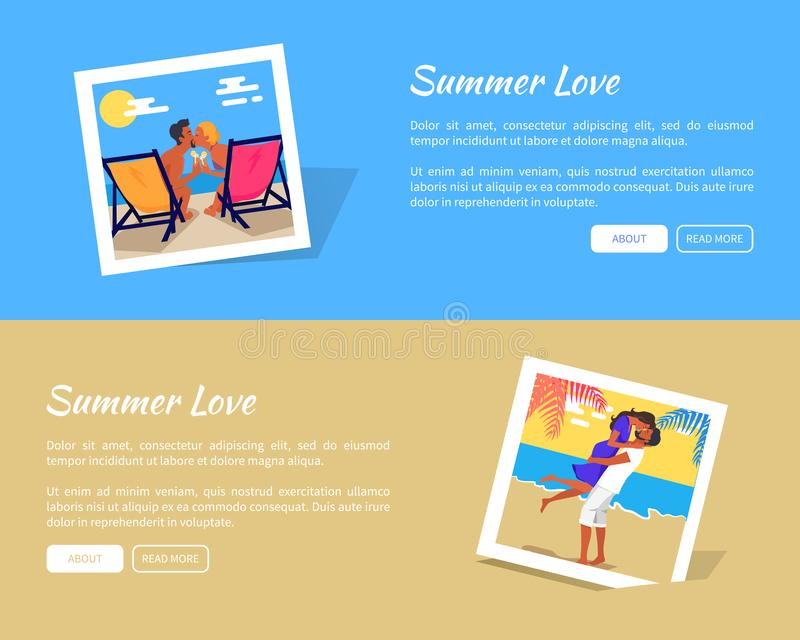 Bandeira do vetor das fotos do amor do verão com textos de informação ilustração stock