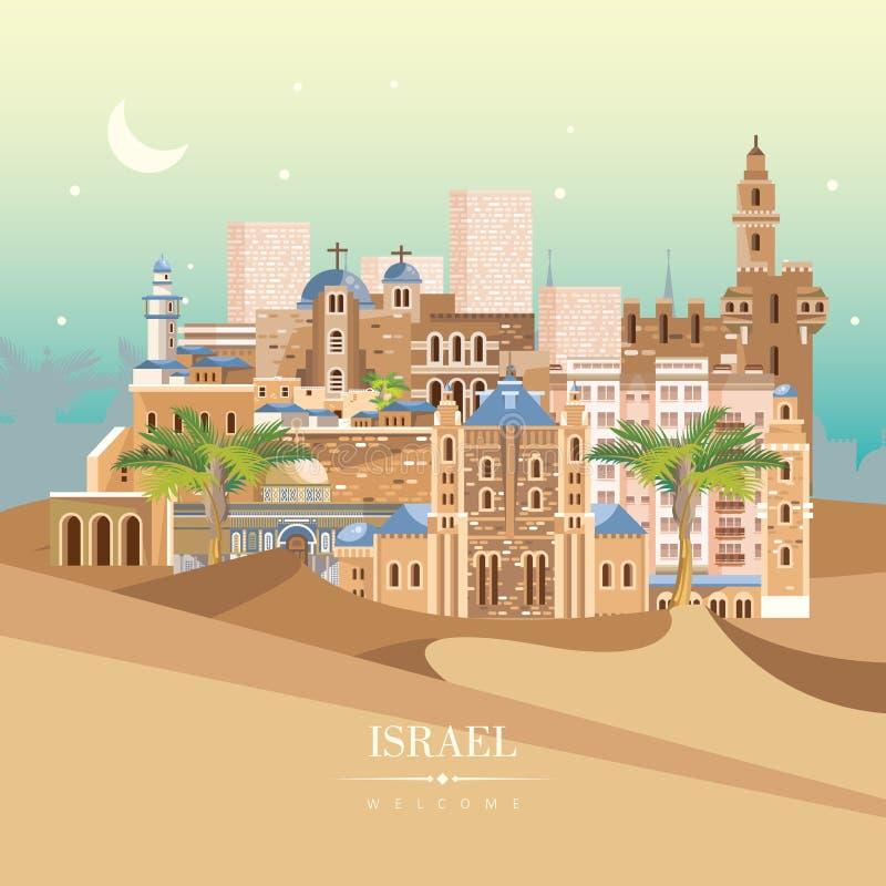 Bandeira do vetor de Israel com construções coloridas judaicas Cena da noite Cartaz do curso no projeto liso ilustração stock