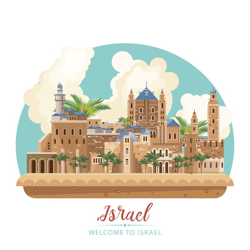 Bandeira do vetor de Israel com marcos judaicos Boa vinda a Israel maravilhosa Cartaz do curso no projeto liso ilustração stock